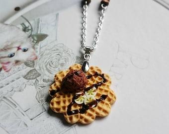 Waffle necklace chocolate banana Fimo polymer clay