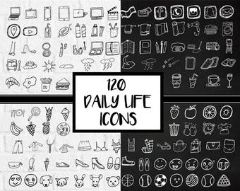 Daily Icons, Everyday Icons, Icons Clipart, Planner Stickers, Journal Icons, Everyday Objects Items, Grocery Clipart