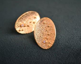 Gold Oval Earrings, 18K Gold-Plated Sterling Silver Stud Earrings, Women's Gold Studs, Cubic Zirconia Stud Earrings, Greek Artisan Jewelry