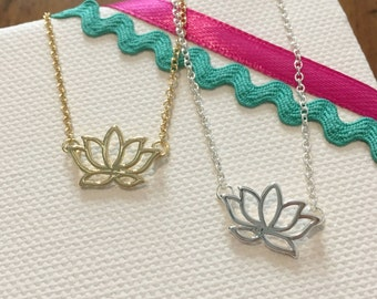 For Lotus, gold necklace, silver necklace, lotus flower necklace, minimalist necklace, gift for her, woman gift, Mother's Day, gift.