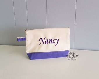 Monogrammed make up bag, personalized make up bag, navy canvas make up bag, monogrammed gift, bridesmaids gift, graduation gift for her
