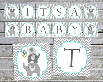 Boy Baby Shower Banner It's a Baby Decorations Elephant Baby Shower banner elephant baby shower banner (01) instant download