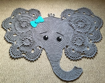 Crochet Elephant Nursery Rug, Playmat, Wall Hanging