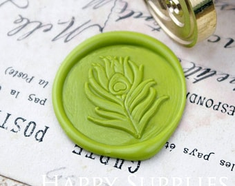 Buy 1 Get 1 Free - 1pcs Peacock Feather Gold Plated Wax Seal Stamp (WS071)