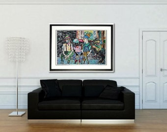 Man Cave art, Park bench, city park wall art, city wall art, men on bench, Johnos Art Studio, Johno Prascak