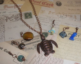 Copper Seaturtle Necklace with Removeable Charms