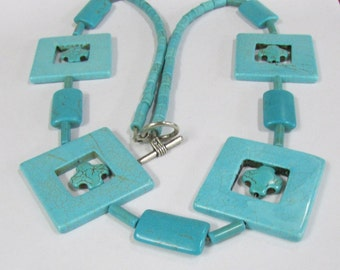 Striking Faux Turquoise Beads Crosses and Squares Necklace