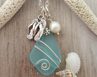 Hawaiian and island lifestyle flip-flops charm with Turquoise Bay blue sea glass necklace, freshwater pearl, FREE gift wrap, gift message