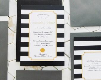 Striped Rehearsal Dinner Invitation - DIGITAL DOWNLOAD - 5 x 7 - Italian Party Invitation