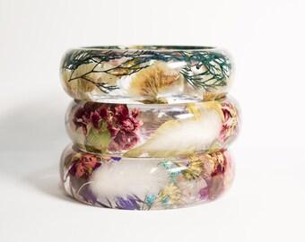 Real flower bracelet, nature plant bracelet, nature inspired bracelet, flower bangle, flower jewelry, real flower bangle, gift for her