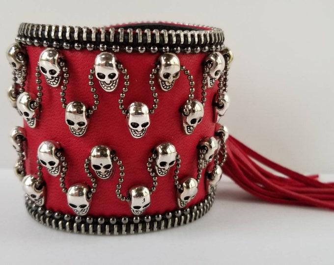 Red Mercury Skull  Leather Cuff. Goth Leather Cuff