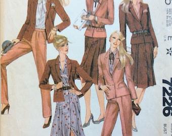 McCall's 7226 misses jacket, skirt & pants size 10 bust 32 1/2 vintage 1980's sewing pattern  Carole Little for Saint-Tropez West