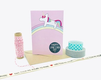 Happy Unicorn Day Mini Card - Unicorns - Unicorn Birthday