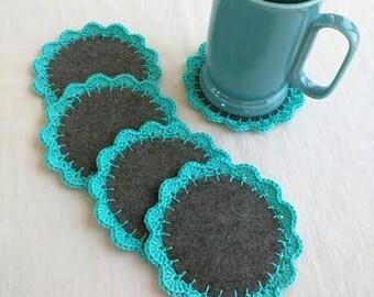 Crocheted on Felt, Blue Coasters, Set of 5