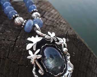 Sapphire Beaded with Tanzanite Pendant Natural, Silver and Handmade