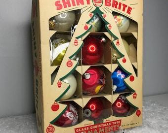 12 vintage ornaments in original Shiny Brite box