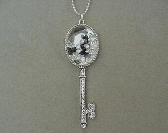 SALE Whimsical Rhinestone Silver Skeleton Key Necklace with FLOATING LOCKET necklace Floating locket with crystals Rhinestone skeleton key