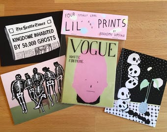 "Four Totally Cool lil Art Prints Pack 4""x5"""