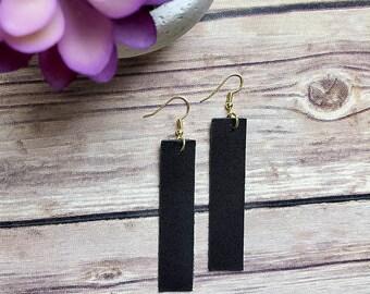 Handmade Genuine Leather Bar Earrings