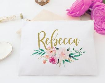 Floral Monogram Cosmetic Makeup Bag Personalized Bridesmaid Toiletry Bag, Custom Cosmetic Bag, Personalized toiletry bag, pencil bag