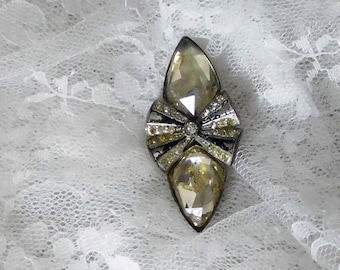 """Vintage Marcasite Scarf Lapel Pin - Very Old - Just over 2 1/4"""" x 1"""""""