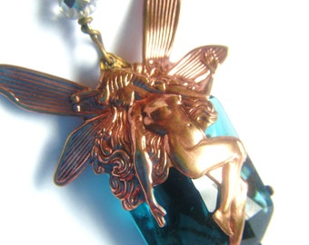 The Blue Faery Fairy Necklace- Art Nouveau Brass Filigree Necklace with Clear Teal Blue Glass Stone free shipping worlwide