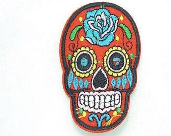 Mexican skull motif applique patch skull embroidery, sewing fusible