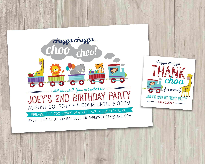 Zoo Train Birthday Invitation Animal Train Birthday Party