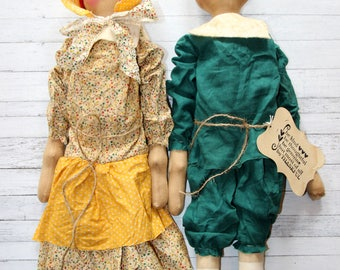 Thanksgiving Tall Pilgrim Set - Man and Woman Pilgrim Primitive Ragdolls