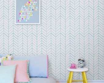 Removable chevron wall decal - Self adhesive wallpaper - adhesive wallpaper - 026 SNOW/ SEAFOAM