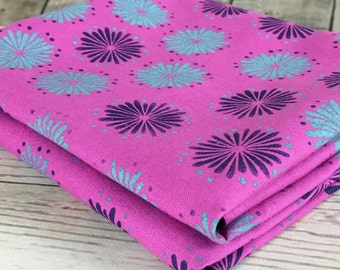 Pink boho style fabric rustic flowers pattern cotton fabric handprinted material fabric for sewing hobo bag handbags quilting crafting