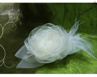 Bridal Flower Hair flower wedding Fascination Ivory bridal Flower cream white Ivory