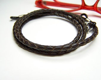 Brown Leather Eyeglass Cord, 3mm Bolo Cord for Glasses, Custom Made 24-36 inchs, Eyeglasses Holder