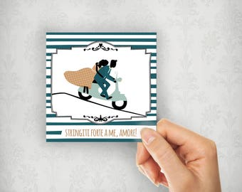Italian cards, vespa love card, scooter greeting card, italian love cards, originali illustration and copy cards, vintage cards, lovers gift