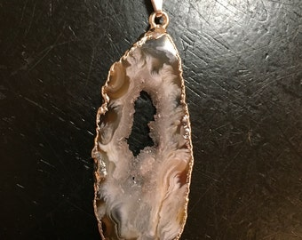 Silver dipped Geode slice necklace - Druzy Quartz Crystal Necklace - Druzy Pendant -  healing necklace - healing crystal necklace