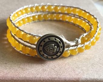 Yellow Glass Beaded Double Wrap Bracelet