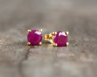 Ruby Stud Earrings in 14K Gold - July Birthstone
