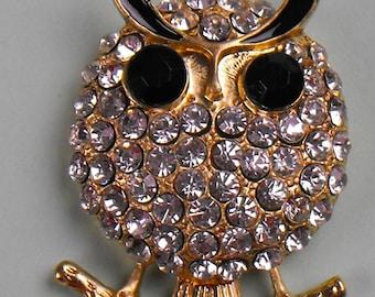 Vintage Black Eyed Crystal Covered Owl Pendant