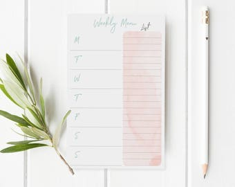 Meal Planning List - Grocery List Notepad- Weekly Meal Planner Notepad