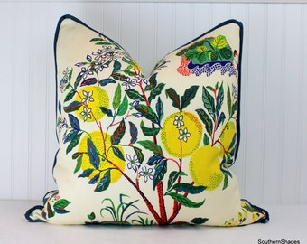 One or Both Sides - ONE High End Schumacher Citrus Garden Primary/Pool/indoor-outdoor Pillow Cover with Self Cording