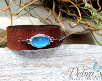 Blue Butterfly Unisex Leather Cuff, Distressed Brown Leather Cuff