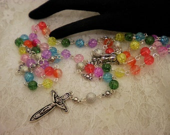 Colorful Crackled Beaded Rosary Or Prayer Beads