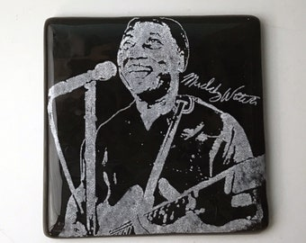 Muddy Waters Fused Glass Coaster, Musician Coaster, Icon Coaster