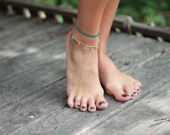 Silver charm anklet, turquoise boho anklet, golden charm anklet