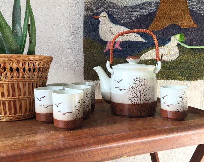 Vintage Japanese Ceramic Otagiri Bird Tree Silhouette Tea Pot and Cups - Set of 7