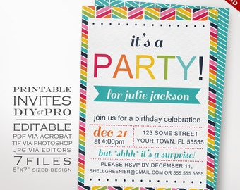 Rainbow Birthday Party Invitation Template - Rainbow Chevron Birthday Invitation - Printable DIY Bright Party Invitation Editable Invite
