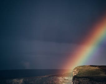Rainbow at Night, Ocean Photography, All profits donated to TheirForeverHome.org