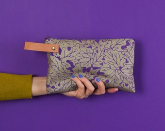 Pouch #1  | Canvas Leather Zippered Pouch, Wallet, Carryall, Colorful, Hand Printed, Pattern, Unique, Gold, Purple, Leaf