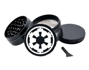 Galactic Empire STAR WARS Black Herb Grinder Engraved Metal Grinder with Glass Windows Spice Grinder Tobacco Crusher Pot Head Gift Stoners