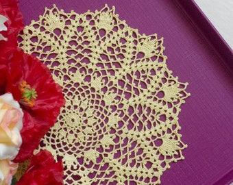Crochet doily Yellow doilies Flower doily Handmade crochet doilies Cotton lace doily 365